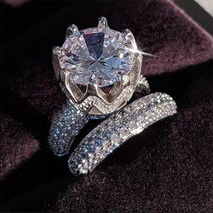 925 bridal engagement wedding [2pc] ring set